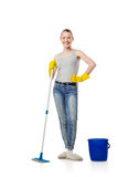 Beautiful young woman standing with mop and bucket Royalty Free Stock Photos