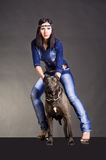 Beautiful young woman standing next to a pitbulls. Beautiful young woman in jeans clothes  standing next to a pitbulls Royalty Free Stock Photos