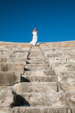 Beautiful young woman  standing on the top  of stone stairs Royalty Free Stock Image