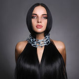 Beautiful young woman in steel chain stock images