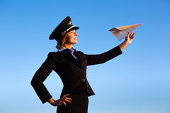 Beautiful young woman stewardess Stock Photos