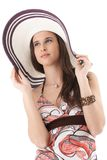 Beautiful young woman in straw hat Stock Photography