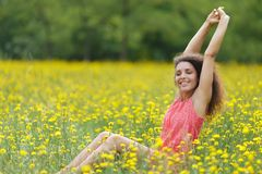 Beautiful young woman stretching Royalty Free Stock Photo