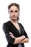 Beautiful young woman in striped vest Royalty Free Stock Photography