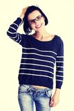 Beautiful young woman student in casual clothes Stock Image