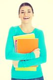 Beautiful young woman student with workbook. Stock Image