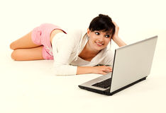 Beautiful young woman studying with the laptop Royalty Free Stock Photo