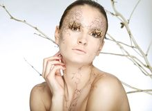 Beautiful young woman with stylezed facepaint Royalty Free Stock Image