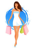 Beautiful young woman in summer dress, shopping Stock Image