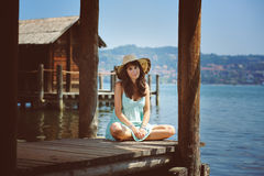 Beautiful young woman with summer dress Royalty Free Stock Photos