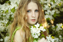Beautiful young woman in summer garden Royalty Free Stock Photos