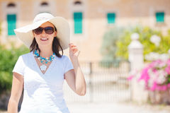 Beautiful young woman summer in hat Royalty Free Stock Photography