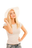 Beautiful young woman with summer hat isolated over white concep. Tual photo Royalty Free Stock Photography