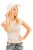 Beautiful young woman with summer hat isolated over white concep. Tual photo Stock Photo