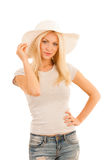 Beautiful young woman with summer hat isolated over white concep. Tual photo Stock Images