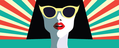 Beautiful young woman with sunglasses, retro style Royalty Free Stock Photography