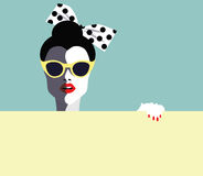 Beautiful young woman with sunglasses, retro style. Pop art Royalty Free Stock Images