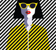 Beautiful young woman with sunglasses, retro style Royalty Free Stock Photo