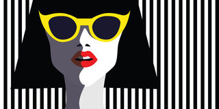 Beautiful young woman with sunglasses, retro style Stock Image