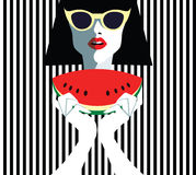 Beautiful young woman with sunglasses, retro style Stock Images