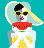 Beautiful young woman with sunglasses and watermelon, retro style. Stock Photos