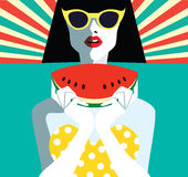 Beautiful young woman with sunglasses and watermelon, retro style. Stock Photo