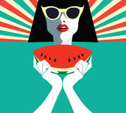 Beautiful young woman with sunglasses and watermelon, retro style. Royalty Free Stock Images