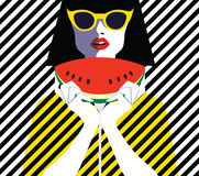 Beautiful young woman with sunglasses and watermelon, retro style. Pop art. Summer holiday Royalty Free Stock Images