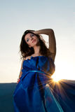 Beautiful young woman on sunset Royalty Free Stock Photos