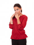 Beautiful young woman with surprised gesture Stock Photo