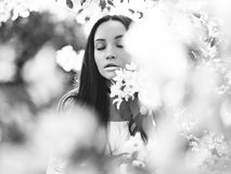 Beautiful young woman surrounded by flowers of apple-tree. Black and white outdoor fashion photo of beautiful young woman surrounded by flowers of apple-tree Royalty Free Stock Photos