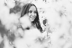 Beautiful young woman surrounded by flowers of apple-tree. Black and white outdoor fashion photo of beautiful young woman surrounded by flowers of apple-tree Stock Images