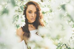 Beautiful young woman surrounded by flowers of apple-tree. Outdoor fashion photo of beautiful young woman surrounded by flowers of apple-tree. Spring blossom Royalty Free Stock Photography