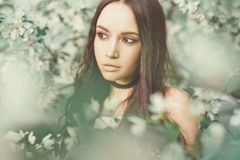Beautiful young woman surrounded by flowers of apple-tree. Outdoor fashion photo of beautiful young woman surrounded by flowers of apple-tree. Spring blossom Stock Photo