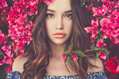 Beautiful young woman surrounded by flowers Royalty Free Stock Image
