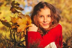 Beautiful young woman in sweater in autumn park Stock Images