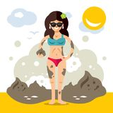 Mud Batch. Vector Flat style colorful Cartoon illustration. Beautiful young woman in swimsuit applying therapeutic dirt Stock Images