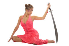 Beautiful young woman with sword Stock Photography