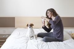 Free Beautiful Young Woman Taking A Selfie With Mobile Phone On Bed With Her Cute Small Dog Besides. Home, Indoors And Lifestyle Royalty Free Stock Photo - 155724875