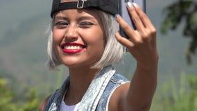 Beautiful Young Woman Taking Selfy stock video