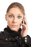 Beautiful young woman talking at Royalty Free Stock Image