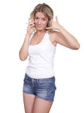 Beautiful young woman. Young beautiful woman talking on cell phone Royalty Free Stock Photos