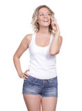 Beautiful young woman. Young beautiful woman talking on cell phone Royalty Free Stock Images