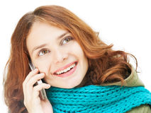 Beautiful young woman talking on a mobile phone Stock Photo