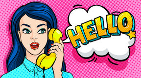 Beautiful young woman talking on the phone. Hello Message. Retro pop art style. Vector illustration Royalty Free Stock Images