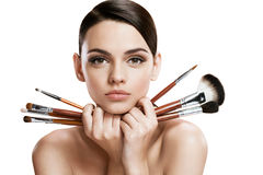 Beautiful young woman with tassels, skin care concept Stock Photos