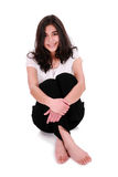 Beautiful young woman or teen relaxing on floor Stock Photo