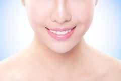 Beautiful young woman teeth close up Stock Images