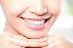 Beautiful young woman teeth close up Stock Photos