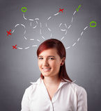Young woman thinking with abstract marks overhead Royalty Free Stock Photography